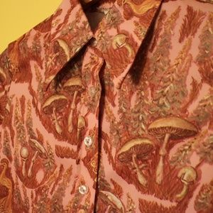 60s 70s Mushroom Peacock Button Down Shirt Vintage